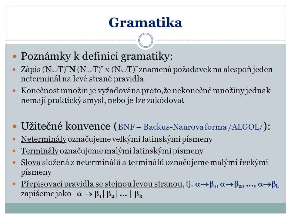 Gramatika Poznámky k definici gramatiky: