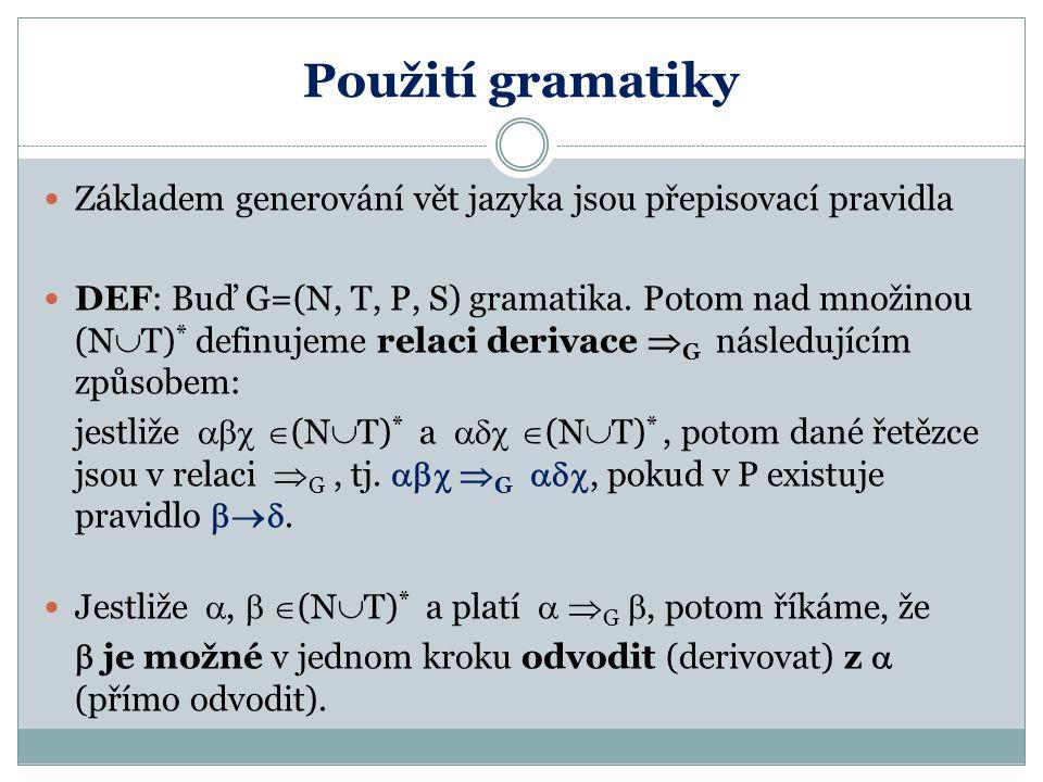 Použití gramatiky Základem generování vět jazyka jsou přepisovací pravidla.