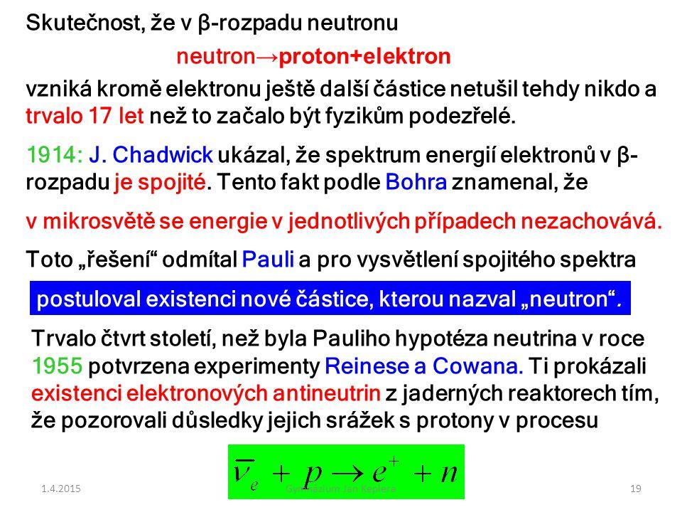 Skutečnost, že v β-rozpadu neutronu neutron→proton+elektron