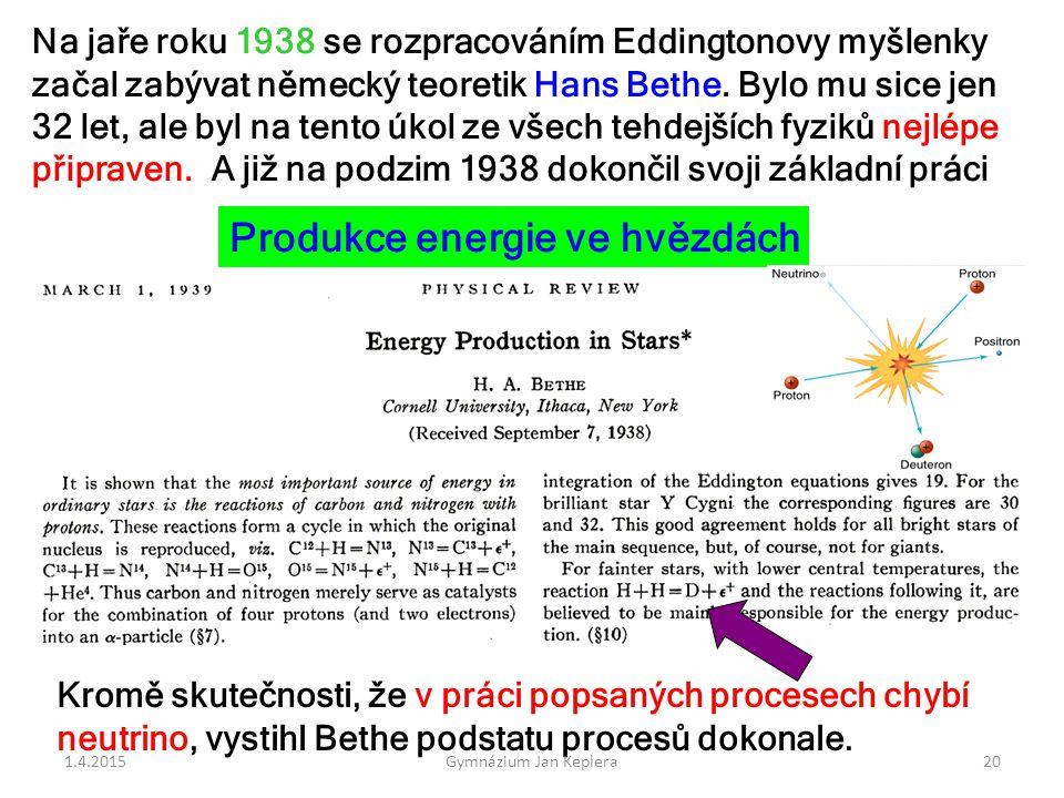 Produkce energie ve hvězdách