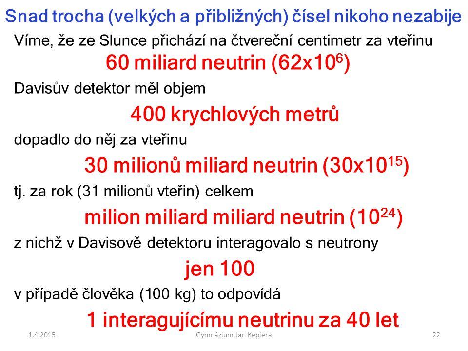 1 interagujícímu neutrinu za 40 let