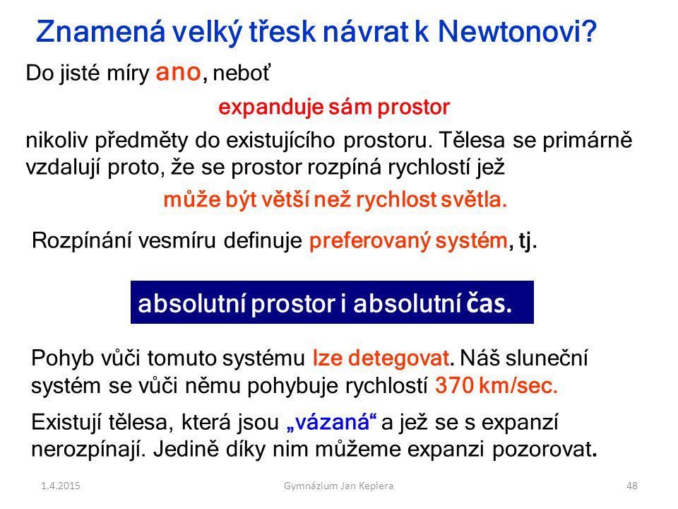 Znamená velký třesk návrat k Newtonovi