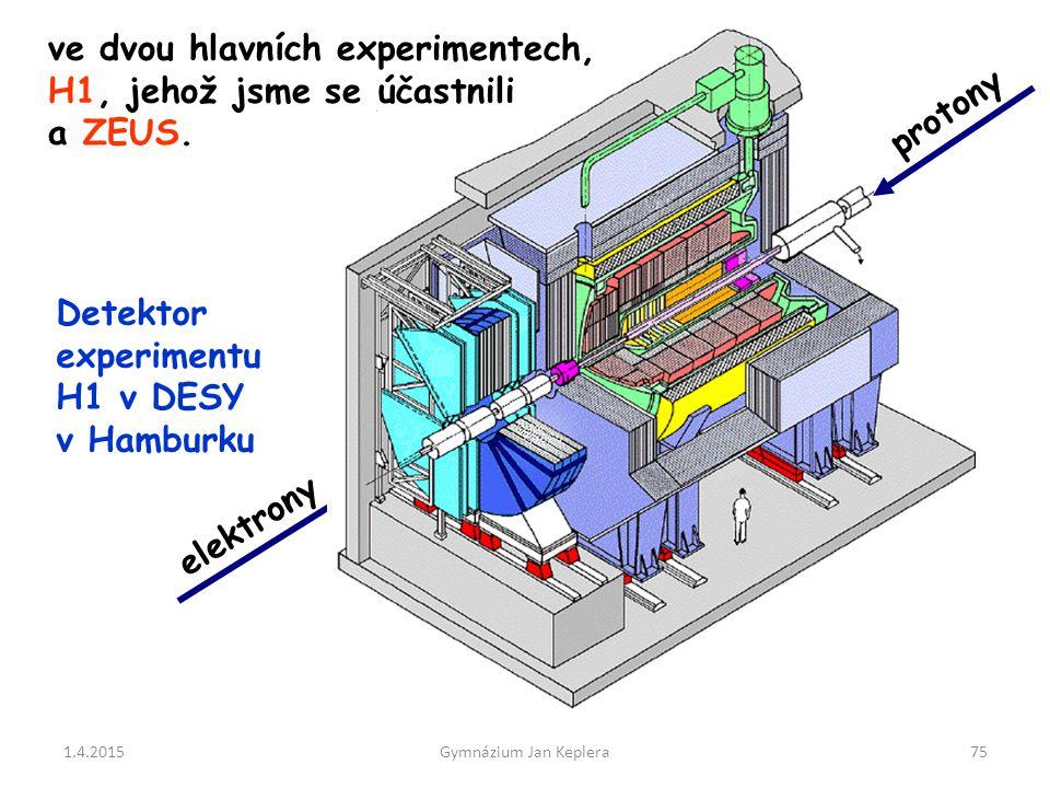 ve dvou hlavních experimentech, H1, jehož jsme se účastnili a ZEUS.