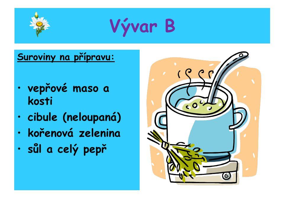 Vývar B vepřové maso a kosti cibule (neloupaná) kořenová zelenina