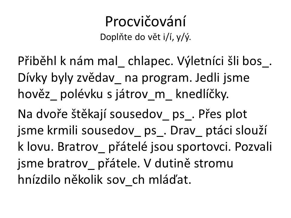 Procvičování Doplňte do vět i/í, y/ý.