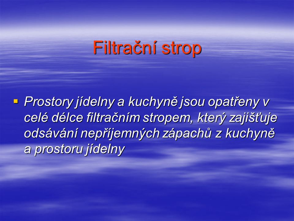 Filtrační strop