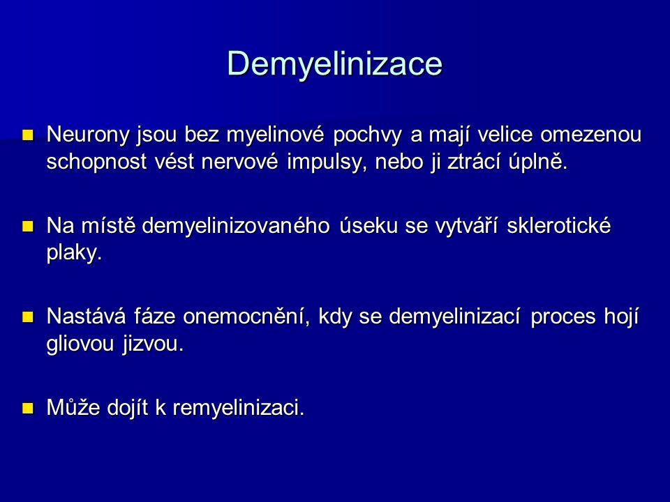 Demyelinizace Neurony jsou bez myelinové pochvy a mají velice omezenou schopnost vést nervové impulsy, nebo ji ztrácí úplně.