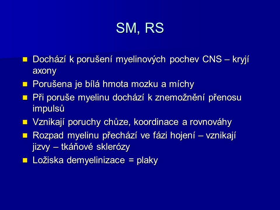 SM, RS Dochází k porušení myelinových pochev CNS – kryjí axony