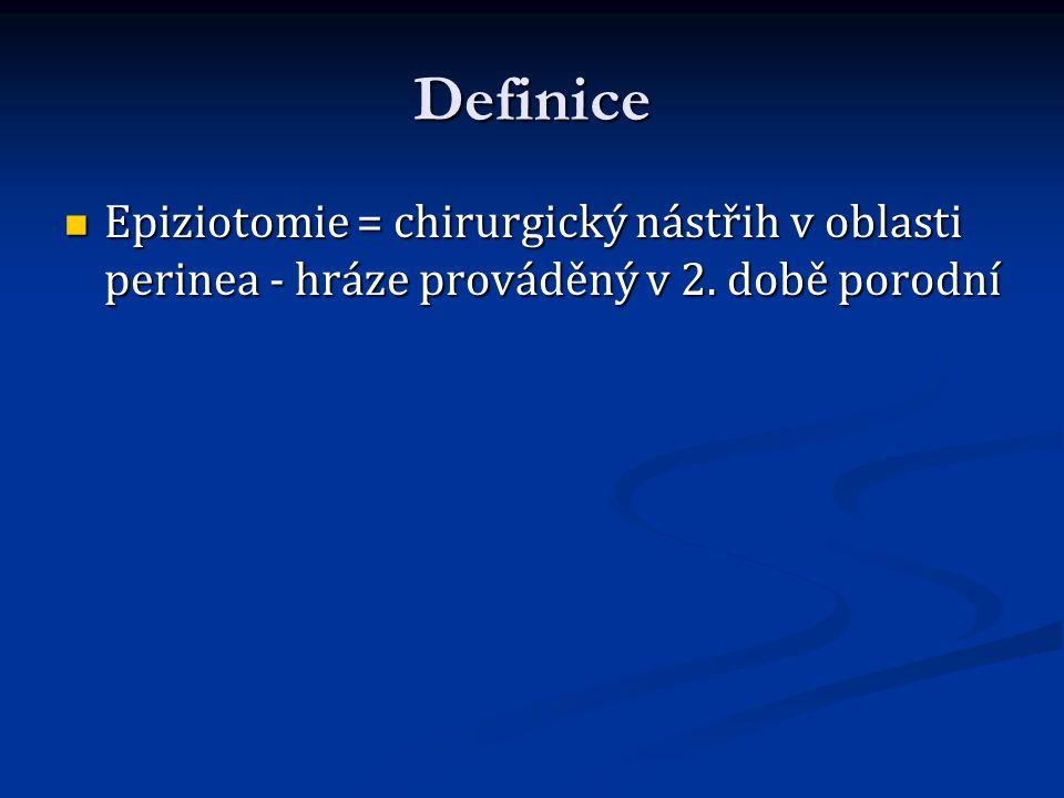 Definice Epiziotomie = chirurgický nástřih v oblasti perinea - hráze prováděný v 2. době porodní