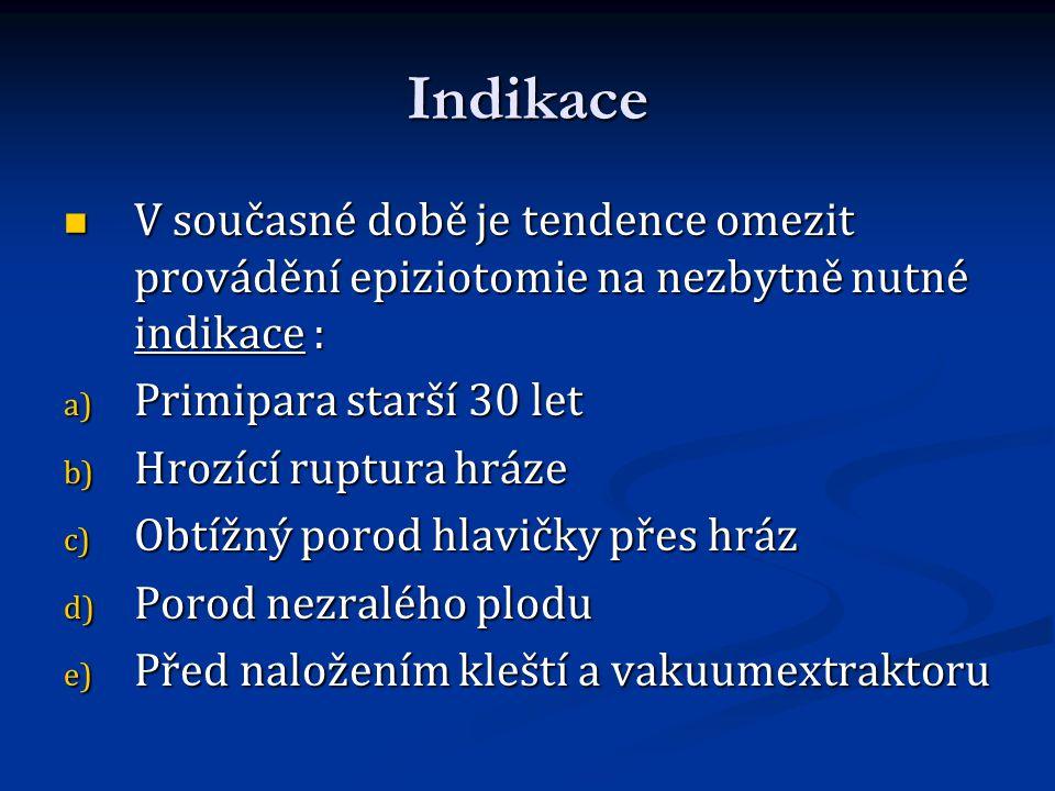 Indikace V současné době je tendence omezit provádění epiziotomie na nezbytně nutné indikace : Primipara starší 30 let.