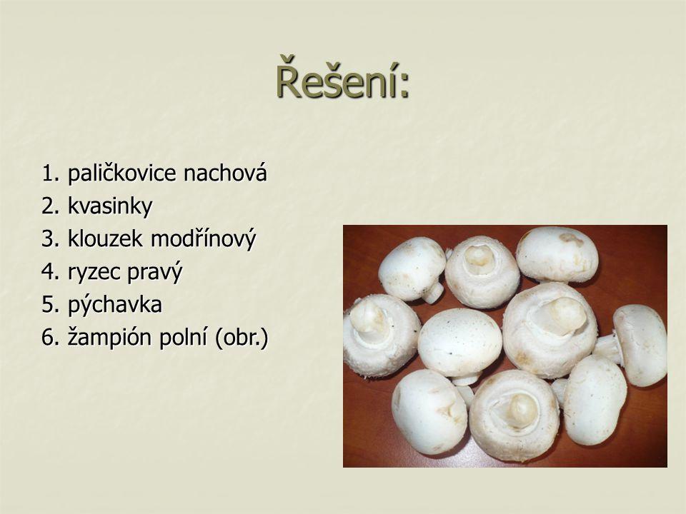 Řešení: 1. paličkovice nachová 2. kvasinky 3. klouzek modřínový