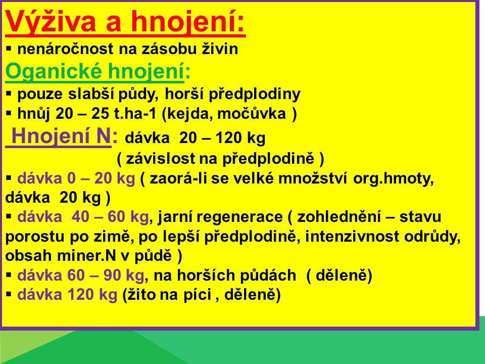 Výživa a hnojení: Oganické hnojení: Hnojení N: dávka 20 – 120 kg
