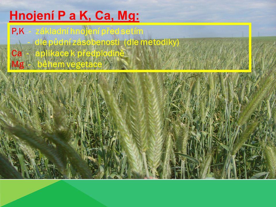 Hnojení P a K, Ca, Mg: P,K - základní hnojení před setím