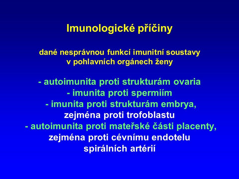 Imunologické příčiny dané nesprávnou funkcí imunitní soustavy v pohlavních orgánech ženy - autoimunita proti strukturám ovaria - imunita proti spermiím - imunita proti strukturám embrya, zejména proti trofoblastu - autoimunita proti mateřské části placenty, zejména proti cévnímu endotelu spirálních artérií