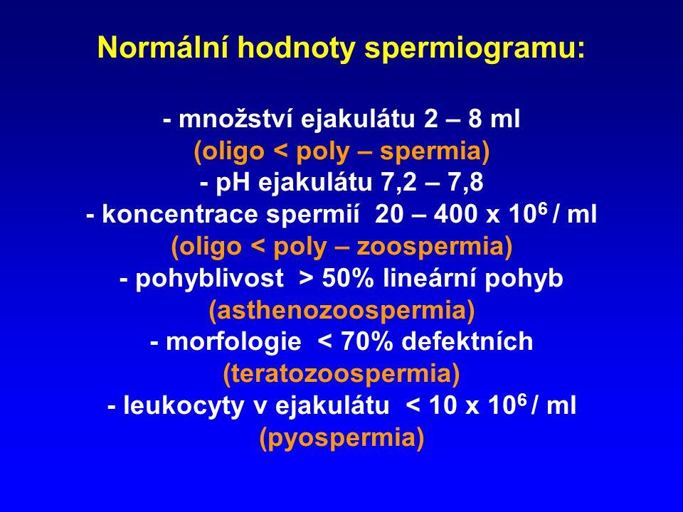 Normální hodnoty spermiogramu: - množství ejakulátu 2 – 8 ml (oligo < poly – spermia) - pH ejakulátu 7,2 – 7,8 - koncentrace spermií 20 – 400 x 106 / ml (oligo < poly – zoospermia) - pohyblivost > 50% lineární pohyb (asthenozoospermia) - morfologie < 70% defektních (teratozoospermia) - leukocyty v ejakulátu < 10 x 106 / ml (pyospermia)