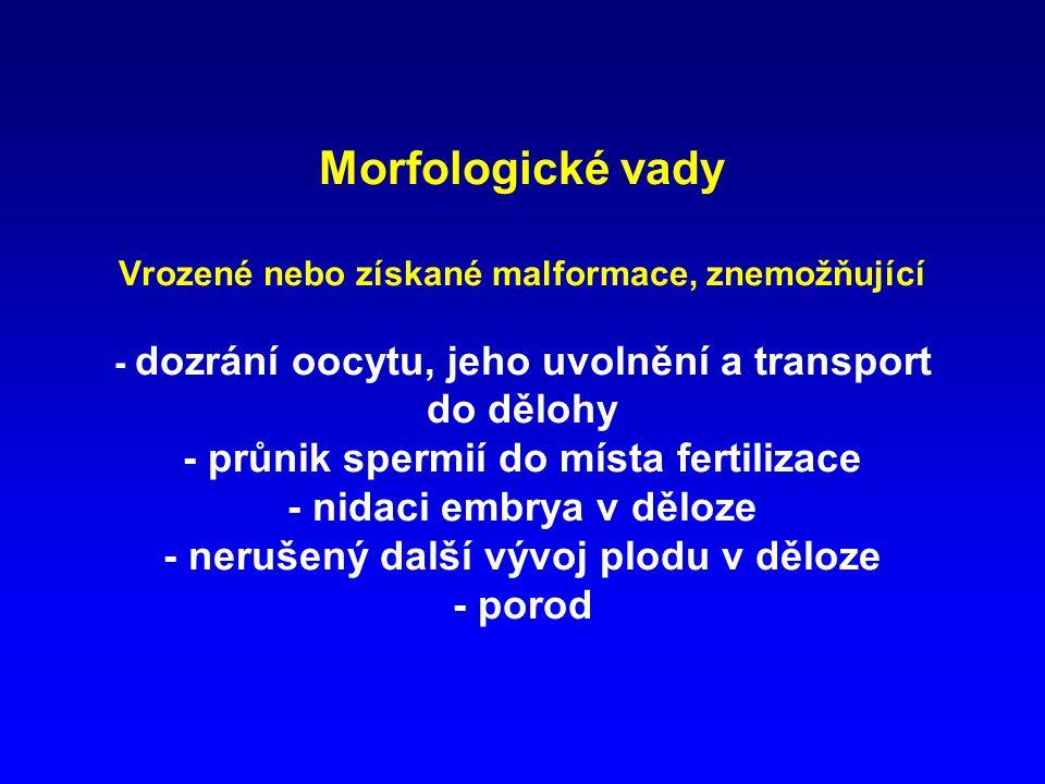 Morfologické vady Vrozené nebo získané malformace, znemožňující - dozrání oocytu, jeho uvolnění a transport do dělohy - průnik spermií do místa fertilizace - nidaci embrya v děloze - nerušený další vývoj plodu v děloze - porod