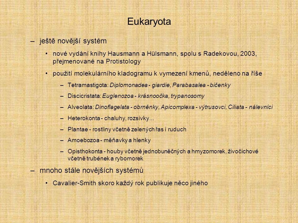 Eukaryota ještě novější systém mnoho stále novějších systémů
