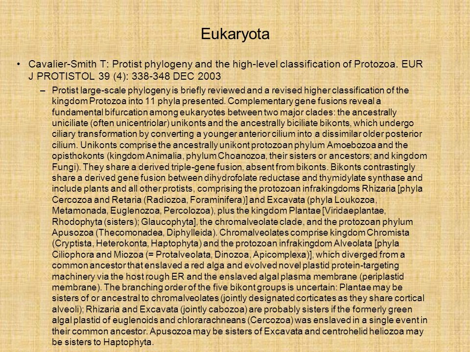 Eukaryota Cavalier-Smith T: Protist phylogeny and the high-level classification of Protozoa. EUR J PROTISTOL 39 (4): 338-348 DEC 2003.