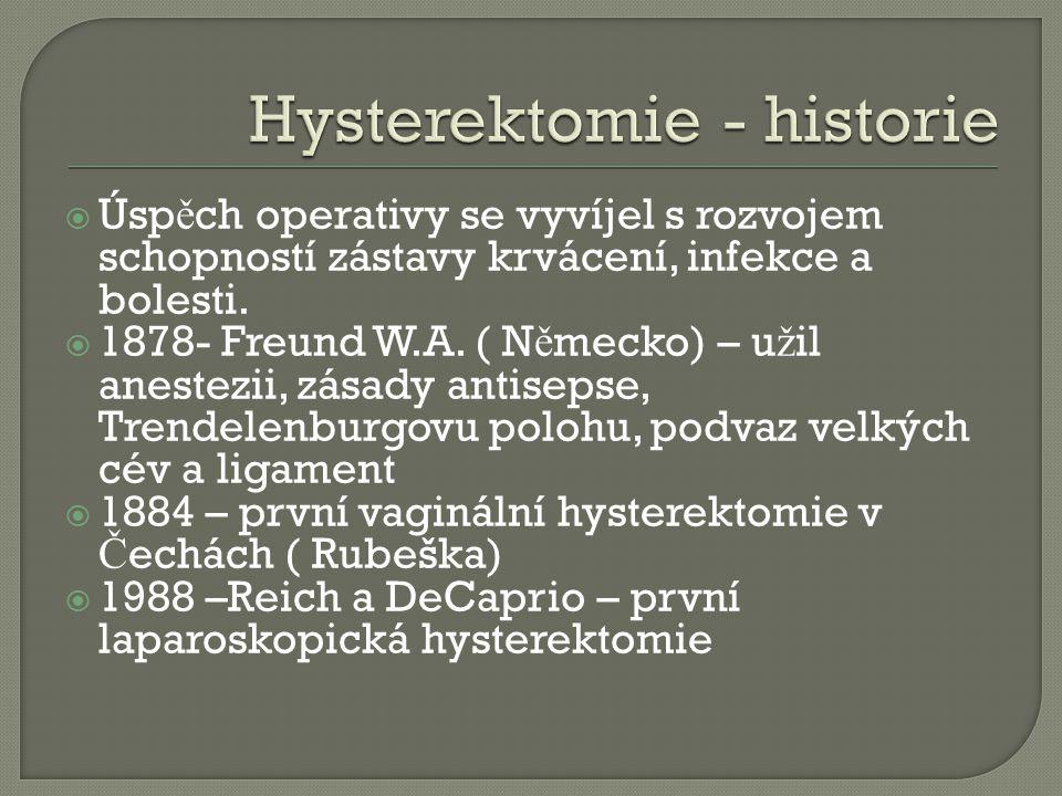 Hysterektomie - historie