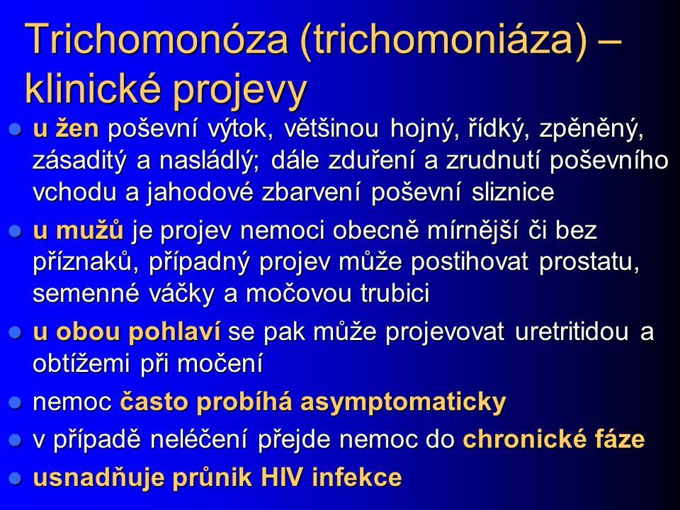 Trichomonóza (trichomoniáza) – klinické projevy