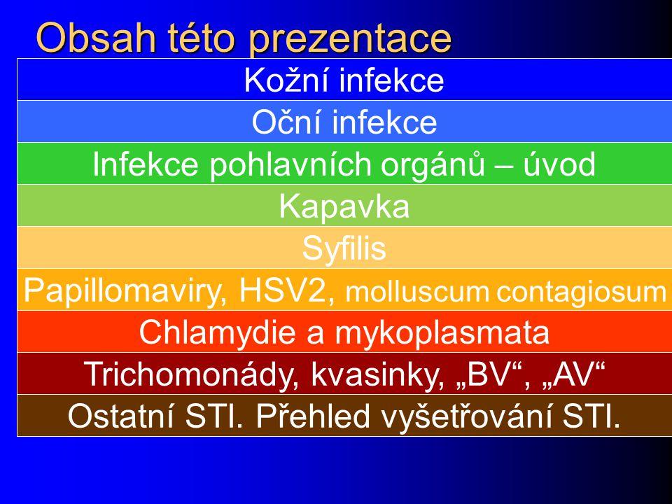 Obsah této prezentace Kožní infekce Oční infekce