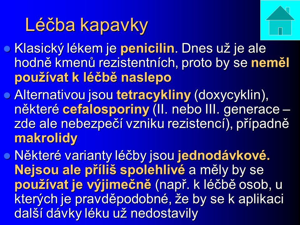 Léčba kapavky Klasický lékem je penicilin. Dnes už je ale hodně kmenů rezistentních, proto by se neměl používat k léčbě naslepo.