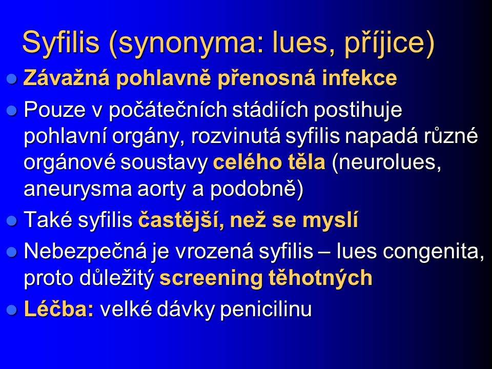 Syfilis (synonyma: lues, příjice)
