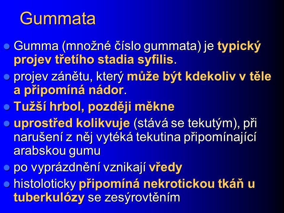 Gummata Gumma (množné číslo gummata) je typický projev třetího stadia syfilis. projev zánětu, který může být kdekoliv v těle a připomíná nádor.