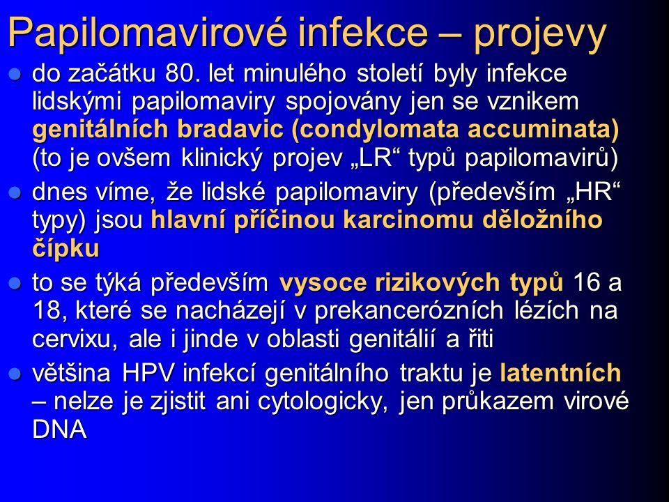 Papilomavirové infekce – projevy