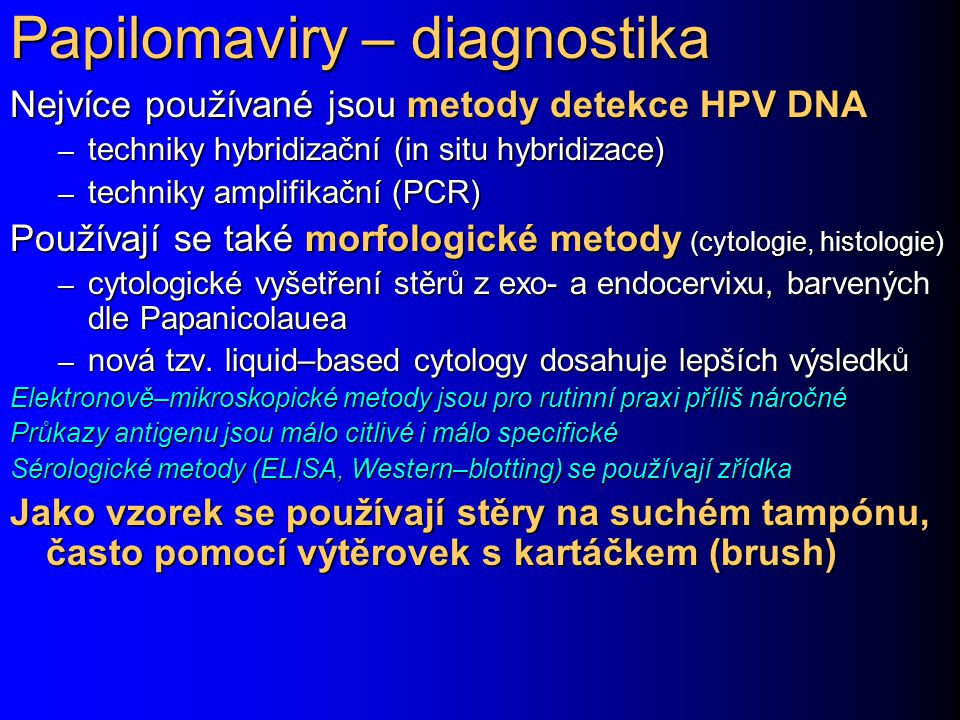Papilomaviry – diagnostika