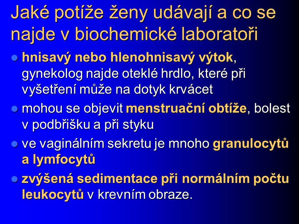 Jaké potíže ženy udávají a co se najde v biochemické laboratoři