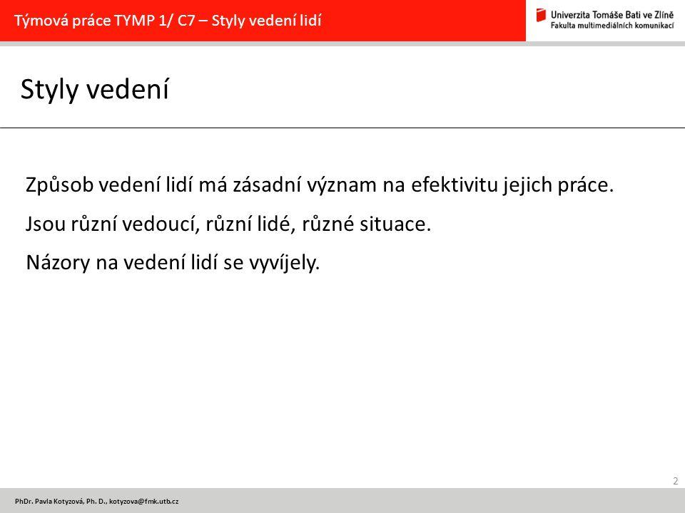 Týmová práce TYMP 1/ C7 – Styly vedení lidí