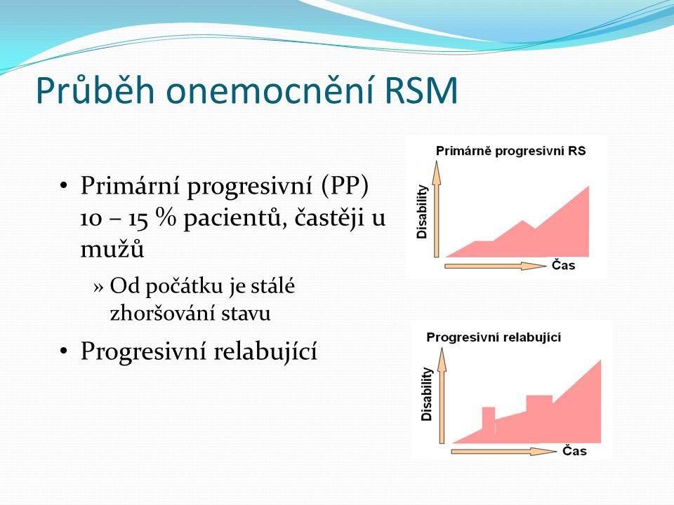 Průběh onemocnění RSM Primární progresivní (PP) 10 – 15 % pacientů, častěji u mužů. Od počátku je stálé zhoršování stavu.