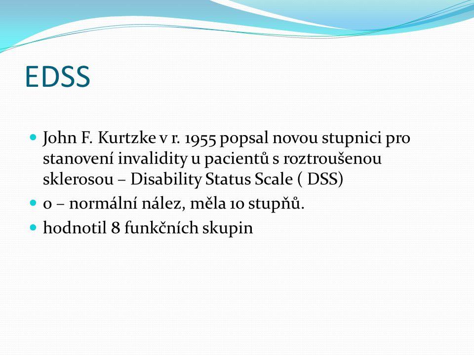 EDSS John F. Kurtzke v r. 1955 popsal novou stupnici pro stanovení invalidity u pacientů s roztroušenou sklerosou – Disability Status Scale ( DSS)