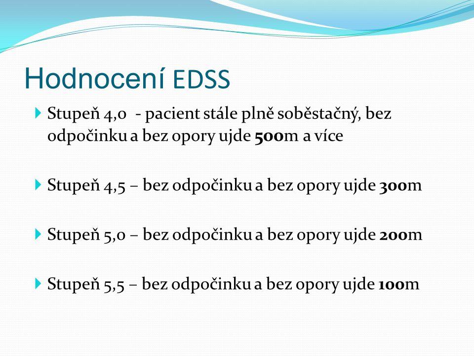 Hodnocení EDSS Stupeň 4,0 - pacient stále plně soběstačný, bez odpočinku a bez opory ujde 500m a více.