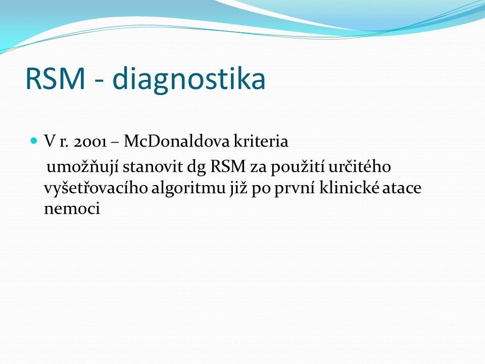 RSM - diagnostika V r. 2001 – McDonaldova kriteria