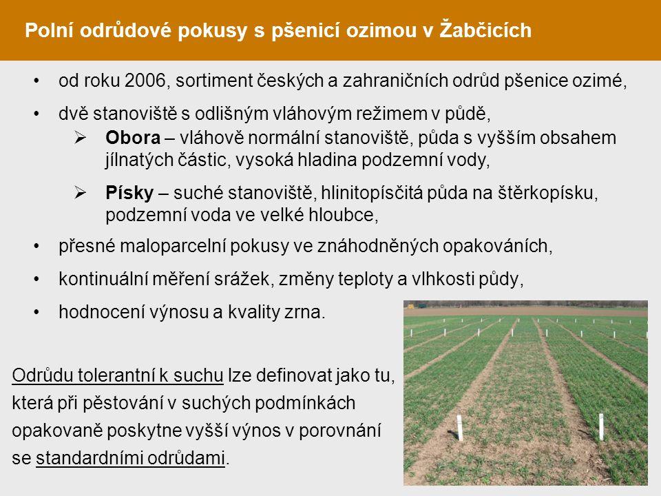 Polní odrůdové pokusy s pšenicí ozimou v Žabčicích