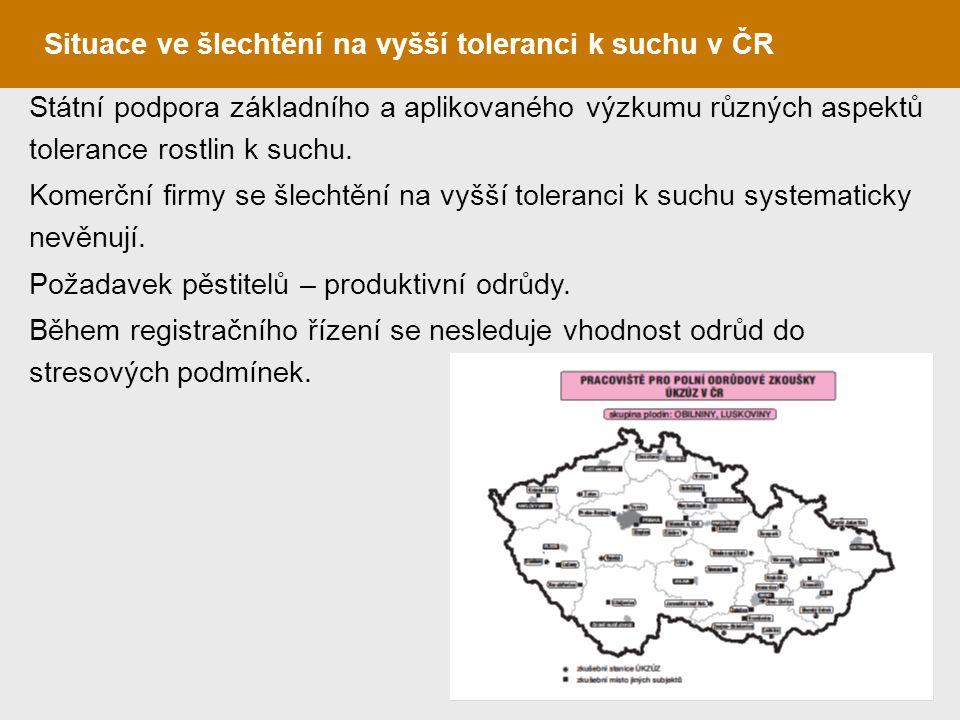 Situace ve šlechtění na vyšší toleranci k suchu v ČR