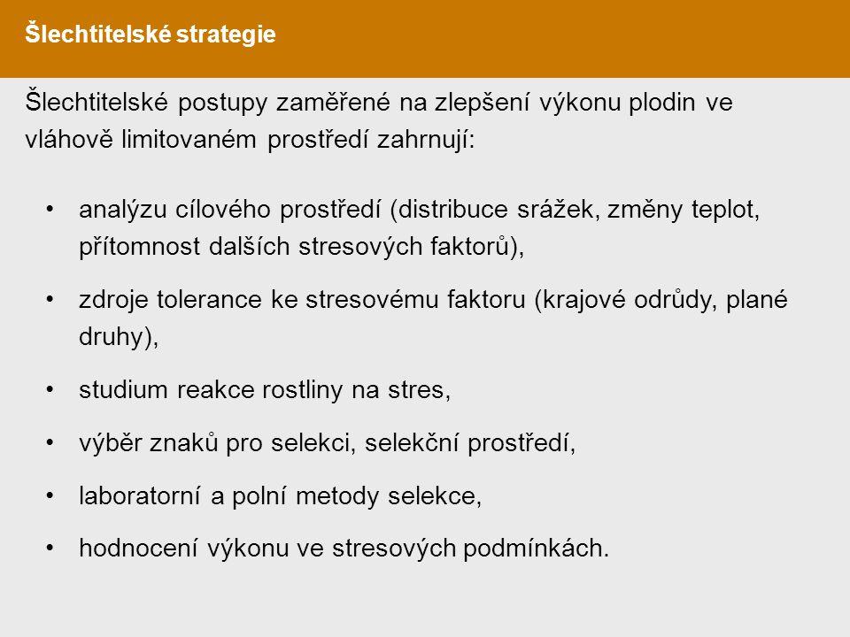 zdroje tolerance ke stresovému faktoru (krajové odrůdy, plané druhy),