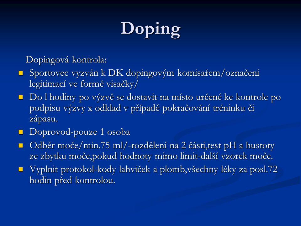 Doping Dopingová kontrola: