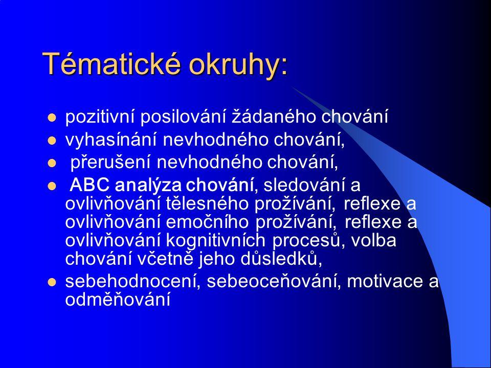 Tématické okruhy: pozitivní posilování žádaného chování