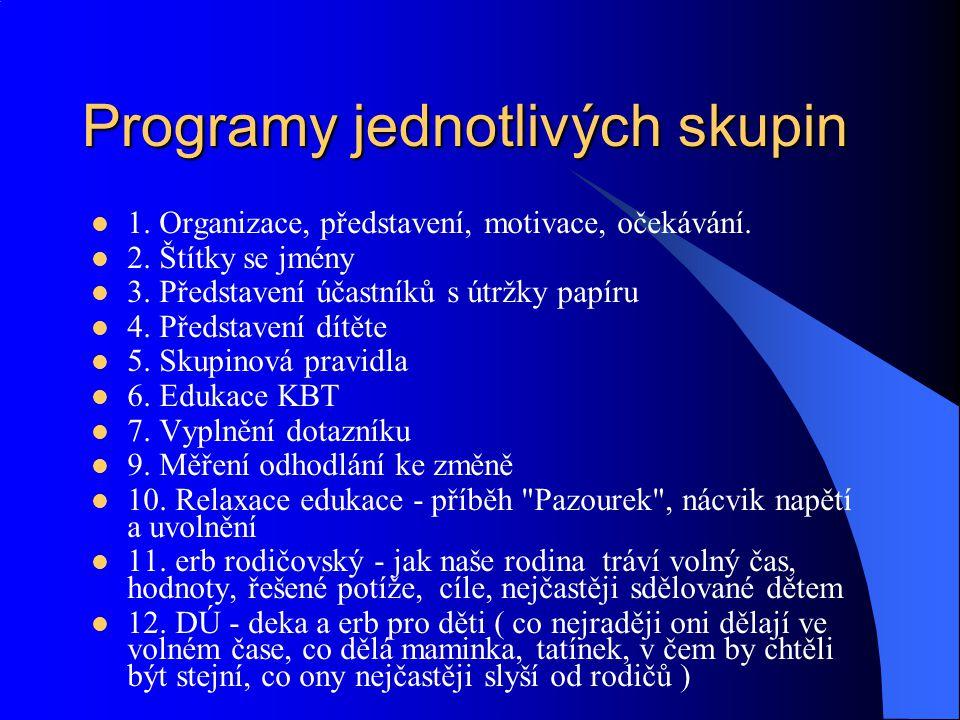 Programy jednotlivých skupin