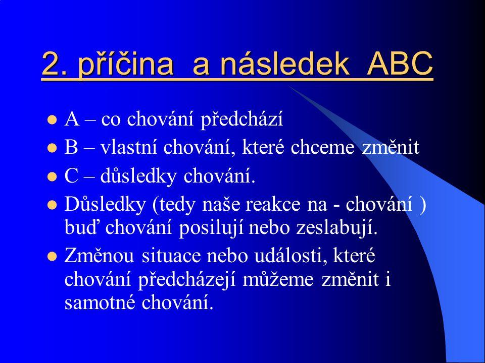 2. příčina a následek ABC A – co chování předchází