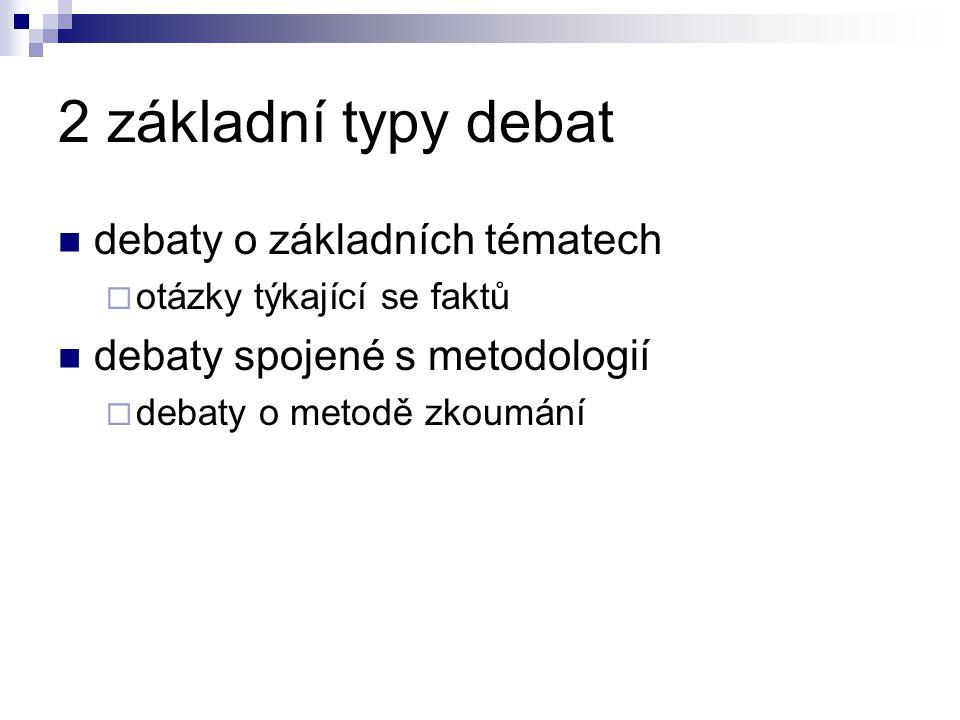 2 základní typy debat debaty o základních tématech