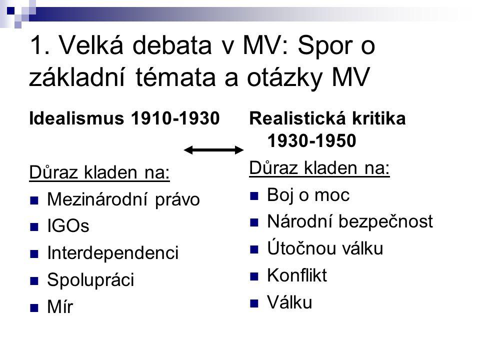 1. Velká debata v MV: Spor o základní témata a otázky MV