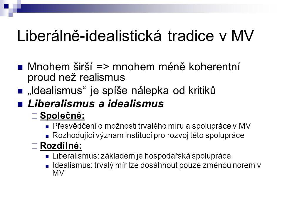 Liberálně-idealistická tradice v MV