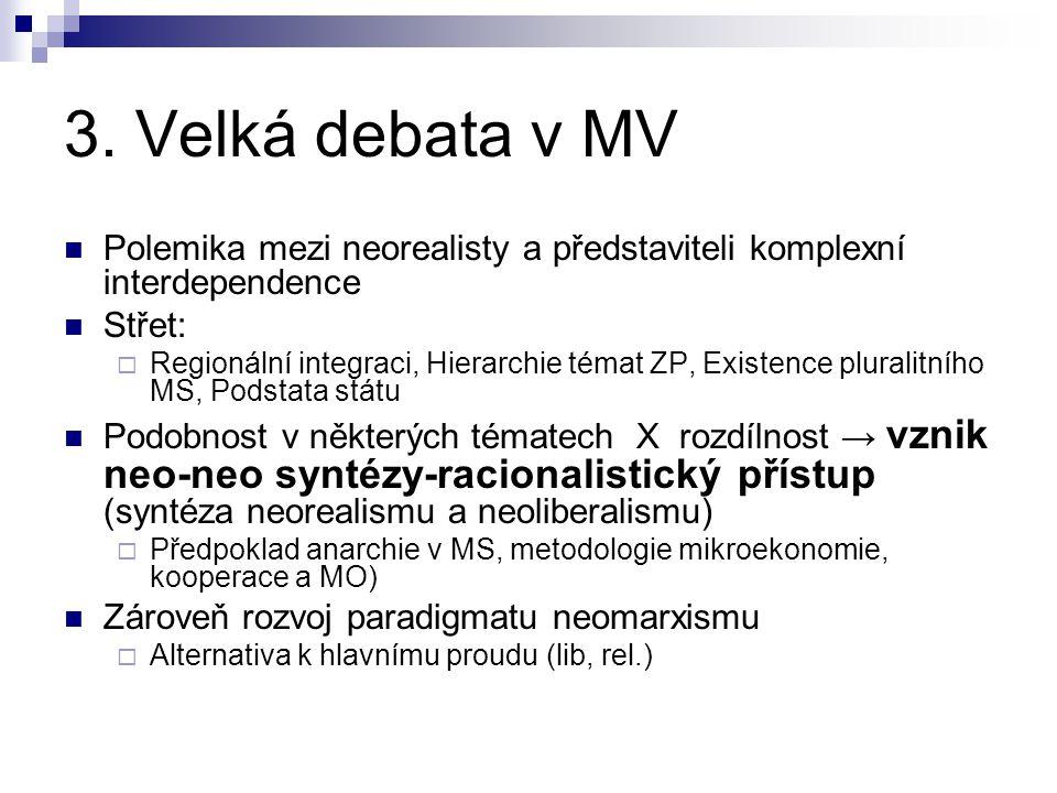 3. Velká debata v MV Polemika mezi neorealisty a představiteli komplexní interdependence. Střet: