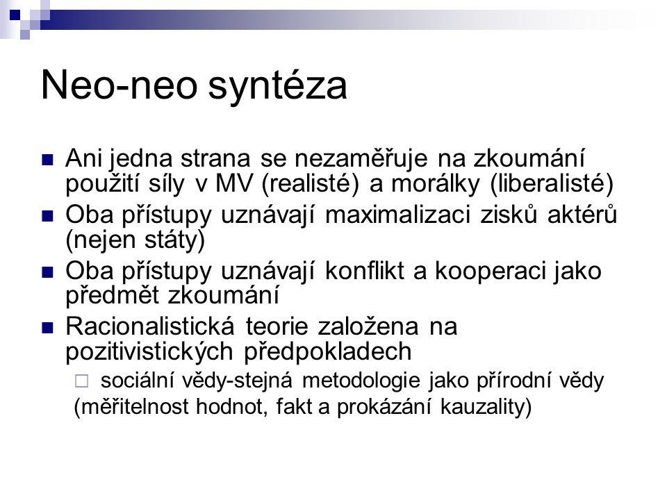 Neo-neo syntéza Ani jedna strana se nezaměřuje na zkoumání použití síly v MV (realisté) a morálky (liberalisté)