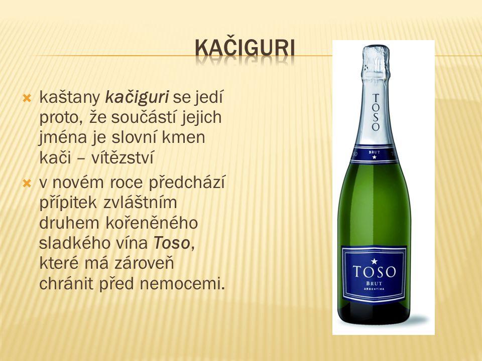 Kačiguri kaštany kačiguri se jedí proto, že součástí jejich jména je slovní kmen kači – vítězství.