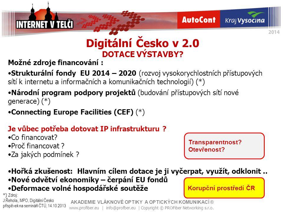 Digitální Česko v 2.0 DOTACE VÝSTAVBY